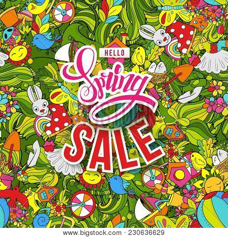 Spring Sale With Bright Colors Hand Drawn Doodle Pattern. Spring And Shopping Symbols On Seamless Ba