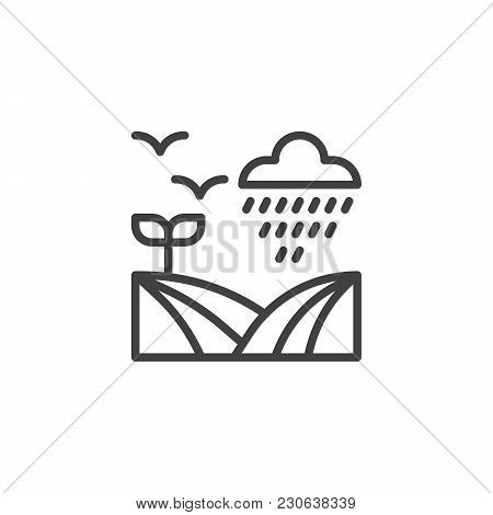 Field Under Rain Outline Icon. Linear Style Sign For Mobile Concept And Web Design. Rainy Cloud, Fly
