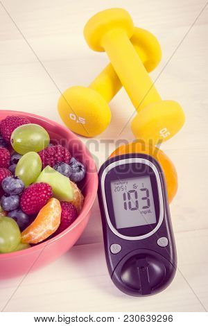 Vintage Photo, Fruit Salad, Glucose Meter With Result Of Sugar Level And Dumbbells For Fitness, Conc