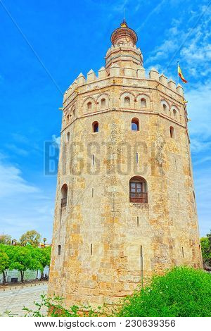 Tower Of Gold (torre Del Oro) Is A Military Watchtower On Paseo