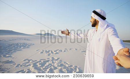 Portrait Of Beautiful Arabian Sheikh Emirate Male Tourist Guide,