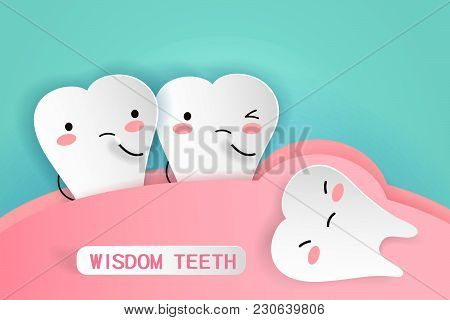 Cute Cartoon Wisdom Teeth With Health Concept
