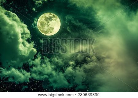 Beautiful Vivid Cloudscape With Many Stars. Night Sky With Bright Full Moon And Cloudy, Serenity Gre