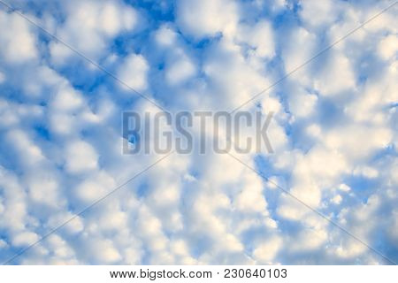 Cloudscape With Stratocumulus Clouds, Clouds Texture. Attractive Of Amazing Blue Sky With Cloudy. Ou