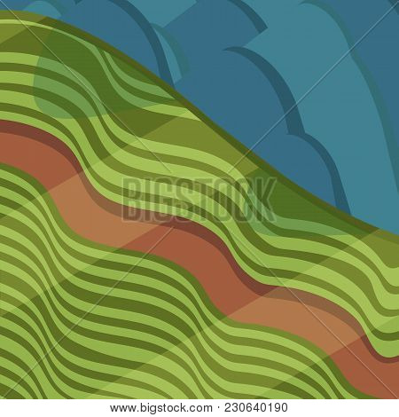 Valley With Road And Mountains In Isometric View