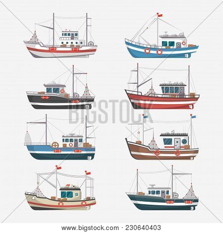 Fishing Boats Side View Isolated Set. Commercial Fishing Trawlers For Industrial Seafood Production