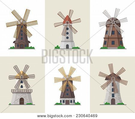 Traditional Ancient Windmill Buildings. Organic Agricultural Farming And Flour Production, Ecologica