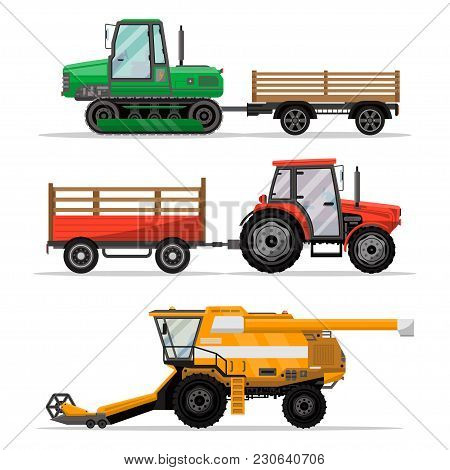 Heavy Agricultural Machinery For Field Work Isolated Set. Wheeled And Caterpillar Tractors With Trai