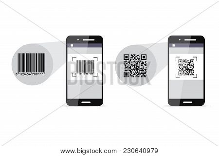 Barcode And Qr-code Scanning Phones. Vector Illustration
