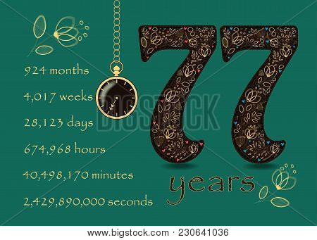 Time Counting Card. Number 77 And Pocket Watch