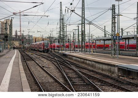 Stuttgart, Germany - March 04, 2017: Railway Platforms For Boarding And Disembarking Passengers From