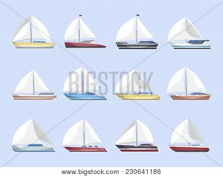 Sea Sailboats Side View Isolated Set. Luxury And Speedy Sail Yachts Vector Illustration. Marine Pass