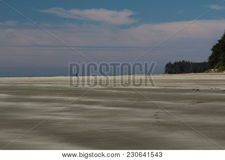 Wide Canadian Beach on Vancouver Island, British Columbia south of Tofino
