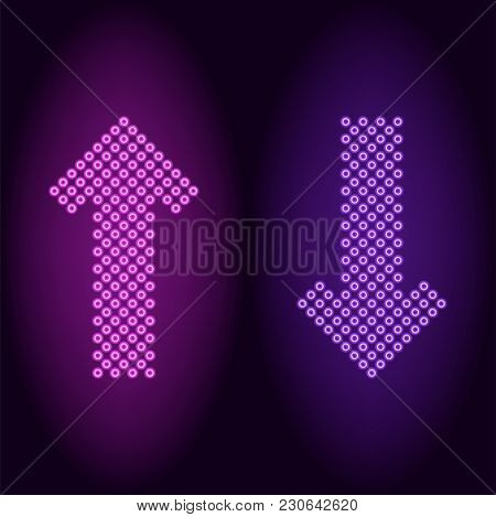 Purple And Violet Neon Arrow With Rings. Vector Illustration Of Long Neon Arrow Consisting Of Many R