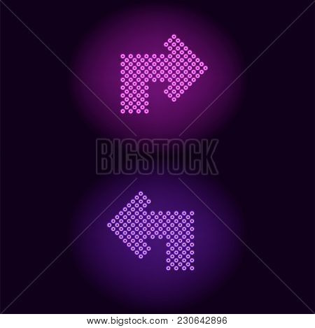 Purple And Violet Neon Arrow With Rings. Vector Illustration Of Turning Neon Arrow Consisting Of Man