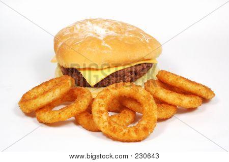 Hamburger And Onion Rings