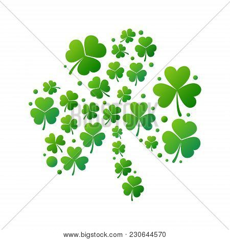 Green Bright Shamrock Made Of Small Shamrocks Or Clovers. Vector Saint Patricks Day Concept Illustra