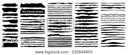 Vector Large Set Of 80 Grunge Ink Brush Strokes. Black Artistic Paint, Hand Drawn. Dry Brush Stroke
