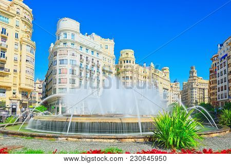 Fountain On Modernism Plaza Of The City Hall Of Valencia, Town H