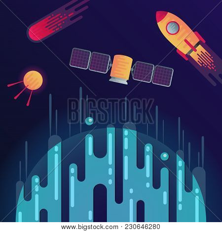 Vector Illustration Of Sci-fi Planet, Rocket, Meteor Or Comet, Space Satellite And Satellite With So