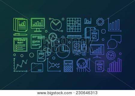 Financial Audit Vector Colorful Outline Illustration On White Background On Dark Background