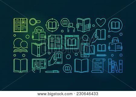Reading Colorful Vector Illustration. Read A Book Concept Banner In Thin Line Style On Dark Backgrou