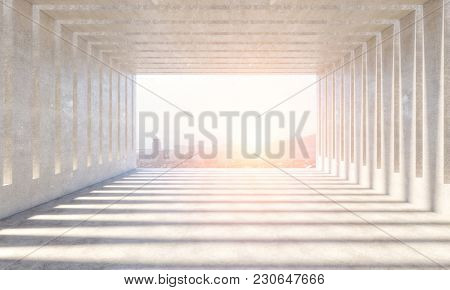 abstract modern concrete interior background 3d rendering image