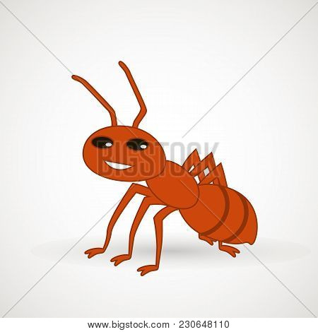 Cute Ant Cartoon Vector. Vector Illustration. Vector Design Element For Logo, Web And Print.