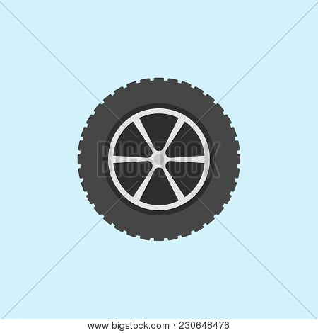 Car Wheel With Tyre Vector Flat Icon Or Logo Element On Blue Background