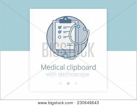 Medical Clipboard With Stethoscope Vector Icon White Background