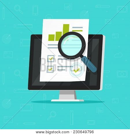 Audit Research On Computer Vector Illustration, Flat Cartoon Paper Financial Report Data Analysis On