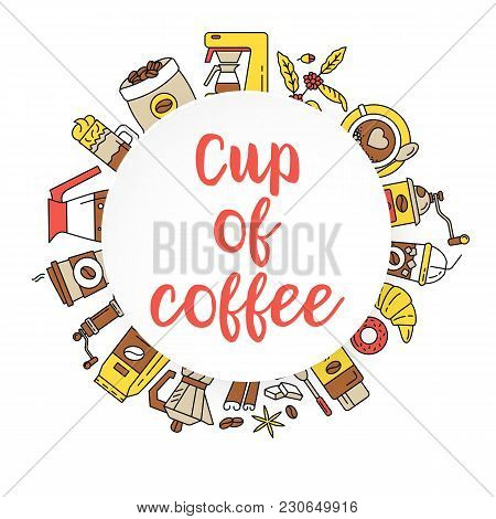 Coffee Flat Line Collection Drink Decorative Icons Behind The Round Shape. Modern Icons For Coffee S