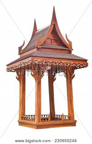 Wooden Rest Gazebo Pavilion In Thai Style Isolated On White Background With Clipping Path