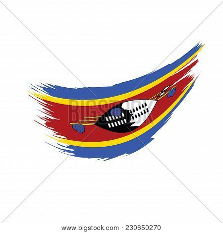 Swaziland Flag, Vector Illustration On A White Background