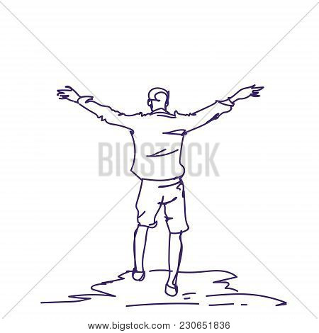 Cheerful Hand Drawn Man With Raised Hands Back Rear View Of Doodle Happy Guy Freedom Concept Vector