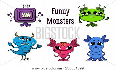 Set Of Funny Colorful Cartoon Characters, Different Monsters, Elements For Your Design, Prints And B