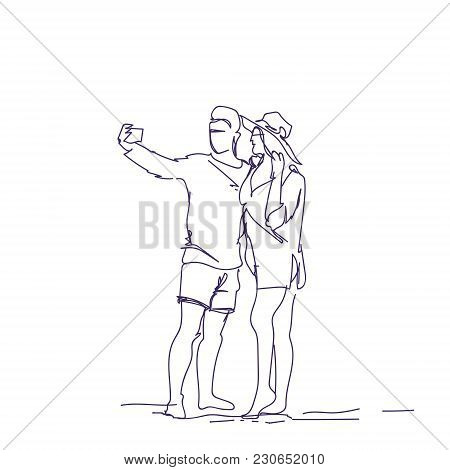 Doodle Couple Taking Selfie Photo On Smart Phone Sketch Man And Woman Embracing Make Self Portrait V