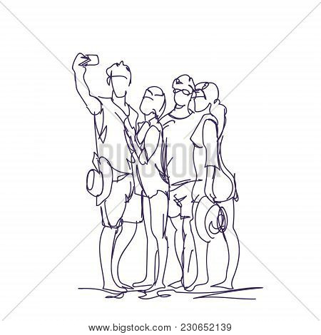 Group Of People Taking Together Selfie Photo On Smart Phone Doodle Men And Women Make Self Portrait