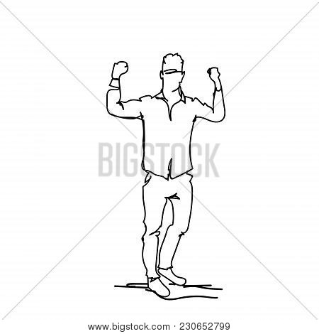 Successful Business Man Holding Fists Raised Happy Male Silhouette Sketch On White Background Vector