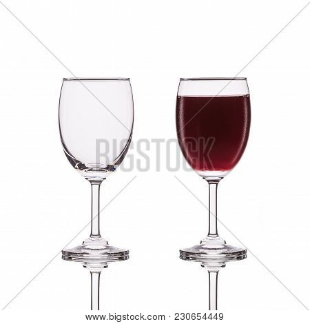 Empty Clear Wine Glass. Studio Shot Isolated On White