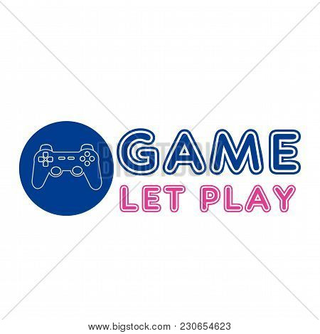Game Let Play Joystick Circle Frame Background Vector Image