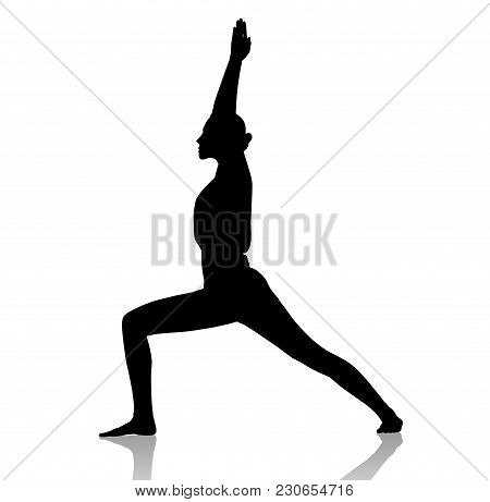 Black Silhouette Of Flexible Woman Doing Yoga. Isolated On White Background.