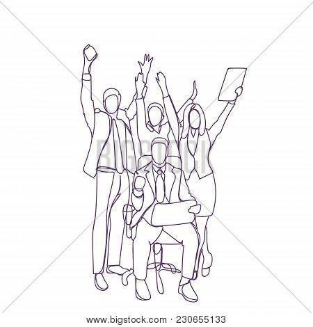 Happy Business People Group With Team Leader Cheering Businesspeople Over White Background, Group Ce