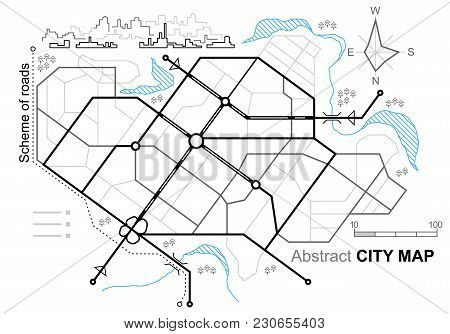 City Map. Line Scheme Of Roads. Town Streets On The Plan. Urban Environment, Architectural Backgroun