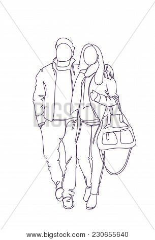 Doodle Couple Walk Embracing Sketch Man And Woman Full Length Over White Background Vector Illustrat