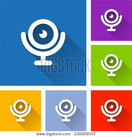 Illustration Of Webcam Icons With Long Shadow