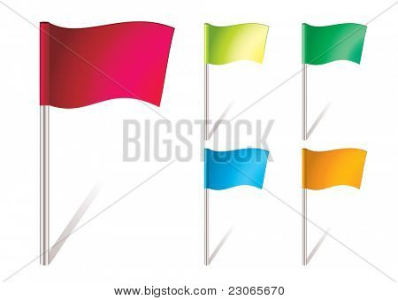 five brightly colored flapping flags in the wind