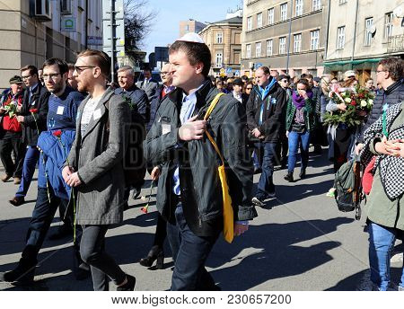 Cracow, Poland - March 11, 2018: The 75th Anniversary Of The Krakow Ghetto Liquidation - Remembrance
