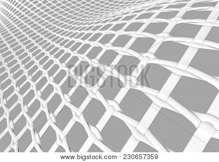 Blank Microfiber Surface, White Fiber Textile And Structure In 3d Render, Leno Weave