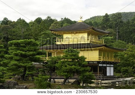 View Of Kinkaku-ji (temple Of The Golden Pavilion) Is A Zen Buddhist Temple In Kyoto, Japan. One Of